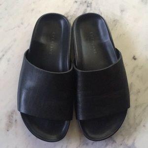 Everlane Form Slide Black Leather Sandal